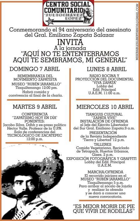 Conmemorando el 94  aniversario de la muerte de Zapata.
